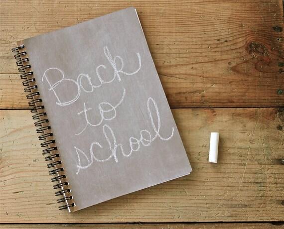 Beige  Light Brown Chalkboard Book  notebook spiral journal
