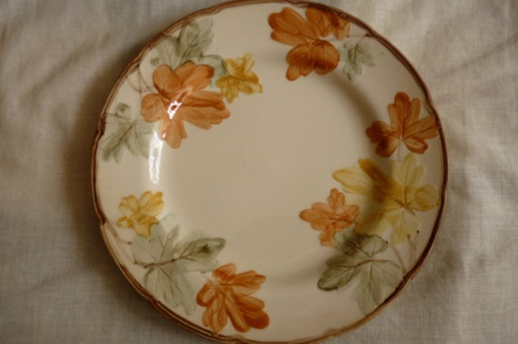 """Reserved for Elaine 70's Franciscan """"October"""" pattern dinner plate 10.5"""" diameter, interface era, fall autum leaves color earth tone brown"""