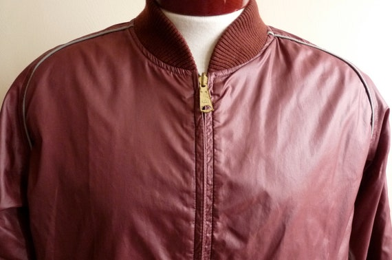vintage 80's reversible waterproof burgundy nylon/grey cotton blend twill men's/unisex windbreaker/collegiate bomber jacket, men's size medi