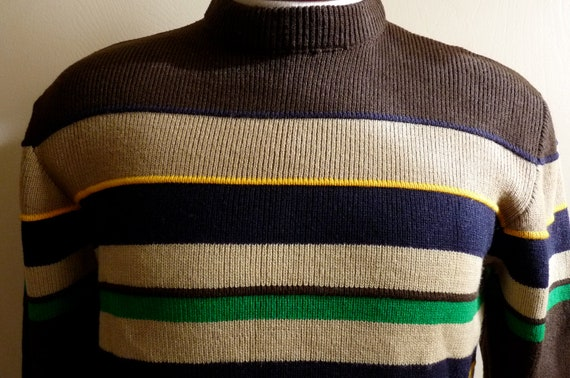 70's 80's Silton California dark chocolate brown color/block earth tone brown green blue beige horizontal stripe band acrylic knit sweater
