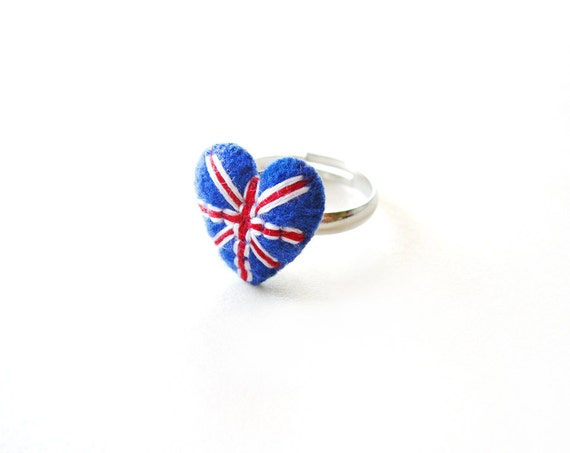 London heart ring / Union jack flag heart ring in red, blue and white