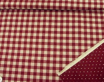 Reversible Print Checker and Dot (Red) Japanese Fabric - 110cm x 50cm