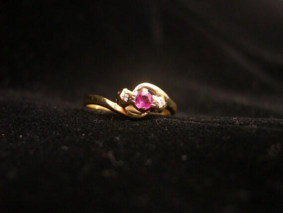 Vintage English Gold Ring Ruby Diamond Ring 9K Gold Art Deco 7 Fully Hallmarked