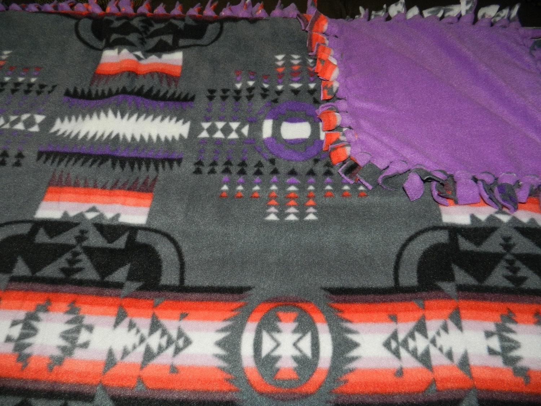 native american print grey fleece ties blanket navajo