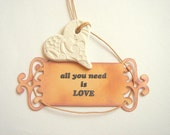 Ceramic Favor Tags,All you need is love Tags,Vintage Wedding Favor