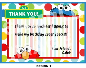 Sesame Street Thank You Note - Elmo Thank You Note - Cookie Monster Thank You Note - Birthday Party Printable - 4 Designs - Photo option