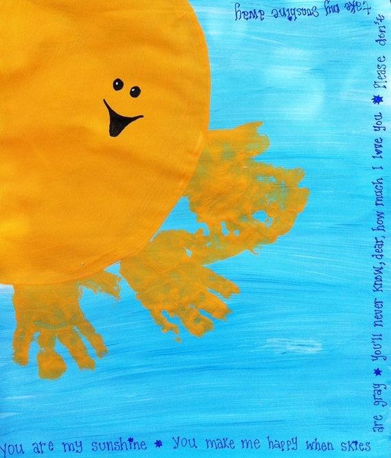 You are my Sunshine Handprint / Footprint Art - Custom, Personalized, DIY Hand Painted Art  11x14