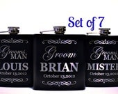Groomsmen Gift, Stainless Steel Engraved Flask, Personalized Flask Gift for Groomsmen, Best Man Gift, Set of 7