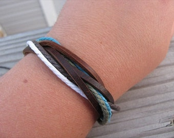 Natural Bracelet- Leather-Style Adjustable- Brown, White, Turquoise