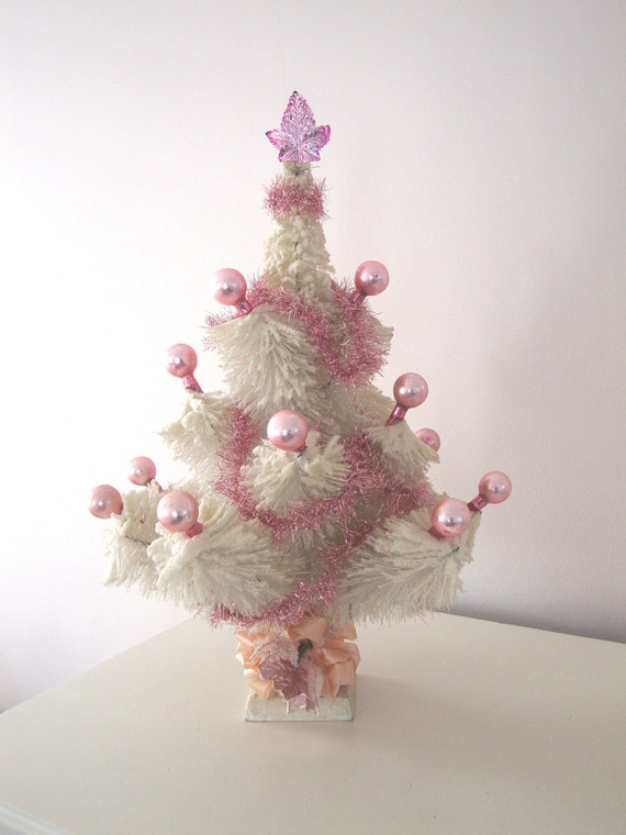 Vintage Pink Bottle Brush Tree White Christmas Mercury