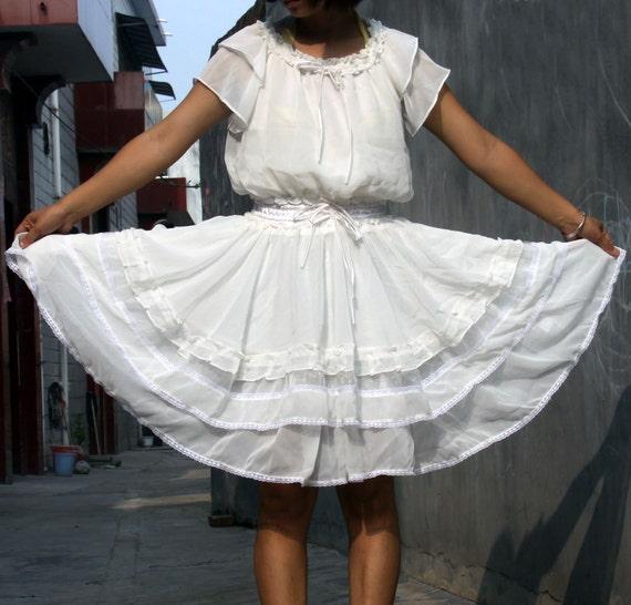 ON SALE  40% OFF---Chiffon dress -----Flounces  Dress white dress pricess dress lolita dress large hem toto dress