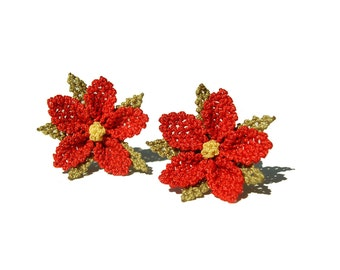 Coral red lace ear studs scarlet red flower earrings feminine jewelry boho crochet ear posts delicate floral lace earrings