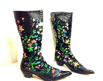 Black Floral Boots 8 / 8.5 - Point toe Knee High Neon Flower Riding Boots 8