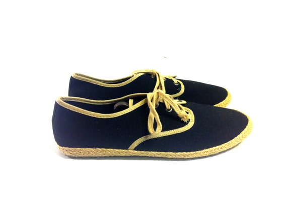 Men's Black Canvas Espadrille Sneakers 11 - Lace Up Sneaks