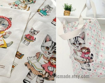 Cute Cat Cotton Linen Fabric Kids Children Fabric Curtain Quilting Bags Fabric- One panel 140x40cm