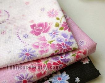 "Fat Quarter Bundle Kimono Fabric Bundle Shabby Chic Sakura Flower Cotton Fabric Bundle  - sets for 3 20"" x 28"""