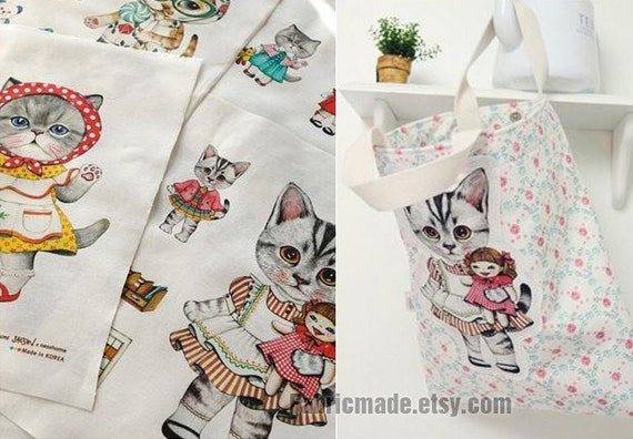 Cute cat cotton linen fabric kids children fabric curtain for Cute childrens fabric