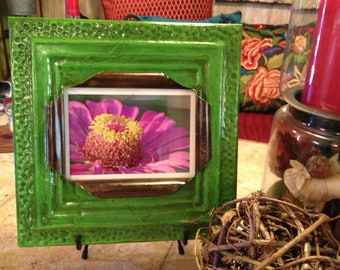 5 x 7 bright lime green antique tin ceiling tile picture frame