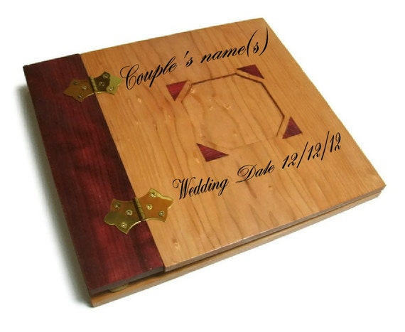 "Wooden Personalized Scrapbook Album -Photo Album -12"" x 12"" Inlaid, Recessed Photo Placement"