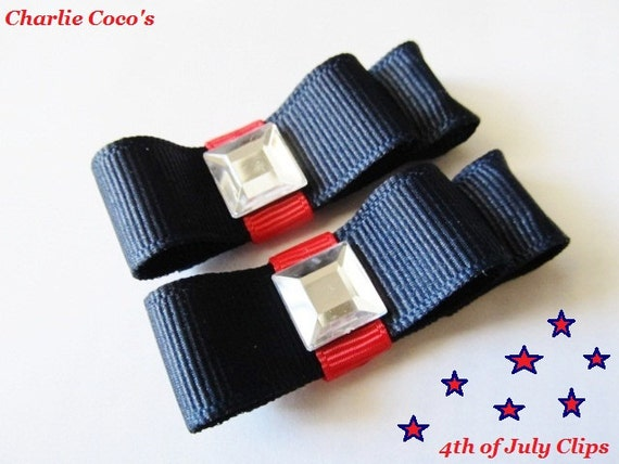 Baby Girl Hair Bow Clips, 4th of July Hair Bow Set, Pigtail Hair Bow Set for Baby, Toddlers and Girls