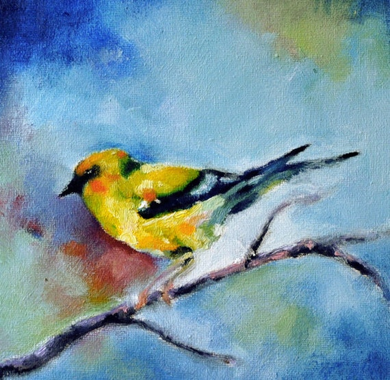 Yellow Bird Original oil painting bird portrait by ...