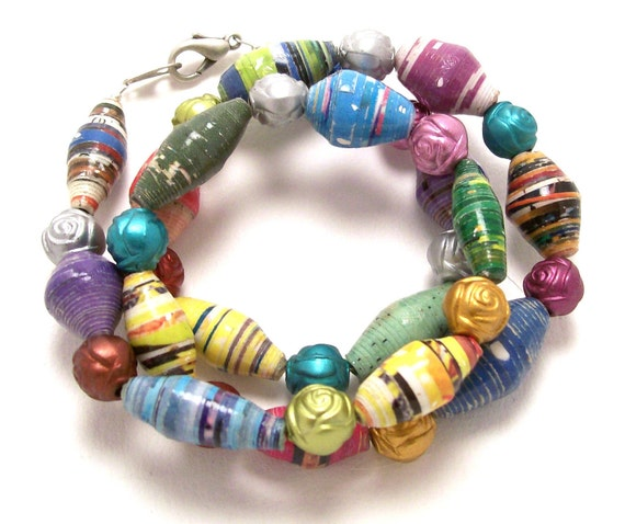 Spring Fling Paper Bead Necklace