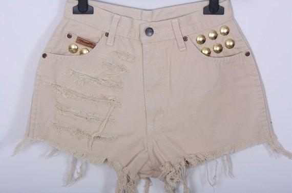 High waisted Denim Shorts Wrangler Vintage Destroyed DIY Cut Off Jeans