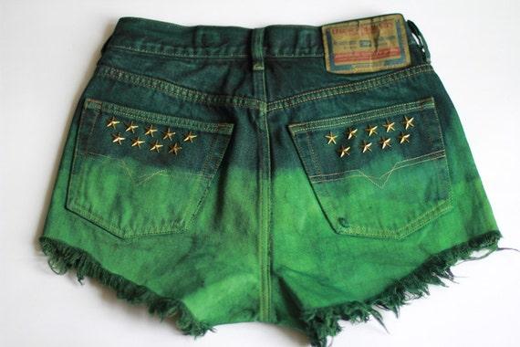 Dip Dye Ombre Denim Shorts Vintage Destroyed DIY Cut Off Jeans High Waisted M