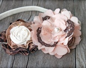 Leopard, Blush Headband, Light Pink Hair Accessory, Ivory, Brown Leopard Print Hair Bow, Hair Piece, Fabric Flowers, Baby Girl Hair Clip