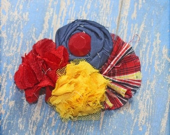 Red, Yellow, Navy Headband, Flower Hair Accessory, Hair Clip, Fabric Flower Brooch, Red Hair Bow, Baby Hair Bows, Fabric Flowers,  Infant