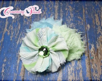 Mint Green, Sky Blue Hair Bows, Hair Accessories, Fabric Flower Headband, Hair Clips, Infant, Baby Girl Headband,  Flower Brooch
