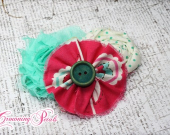 Mint Green, Magenta, Pink Hair Bows, Hair Accessory, Fabric Flower Headband, Hair Clips, Baby Girl Headband, Fabric Flower Brooch