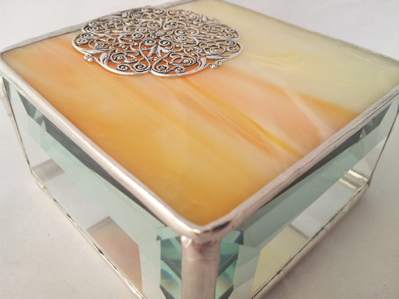 Filigree Embellished Box - Yellow/Orange - Stained Glass Box - 3x3x1.5