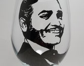 Rhett Butler Wine Glass, Gone With the Wind, Painted Glass