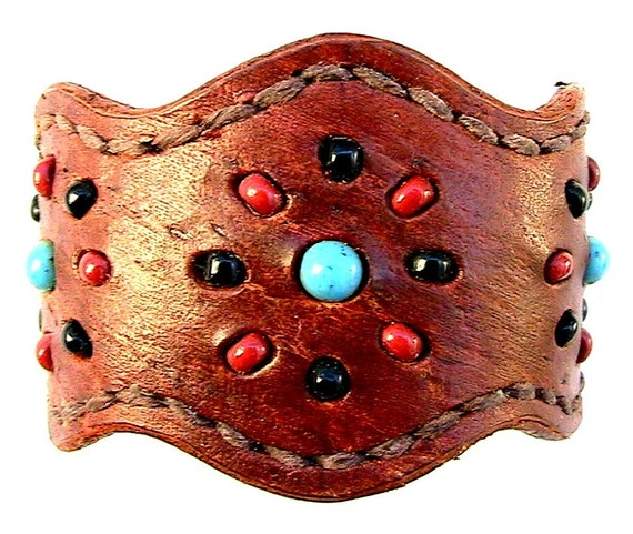 Brown leather cuff / bracelet with glass bead inlay.