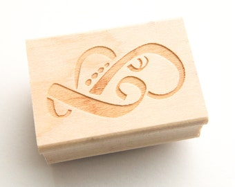 Octopus Stamp - Calligraphic Stamp Design - Apogee Octopus - Wood Mounted Rubber Stamp