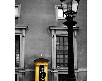 "Sweden photo, Royal palace guard, 8""x12"" original print, Yellow, Black and White, Stockholm Street, Wall Decor"