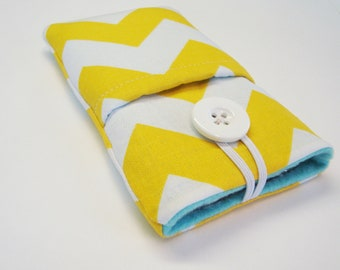 iphone sleeve, cover, case, pouch, ipod case, cellphone sleeve, iPhone 5 pouch in yellow chevron and aqua fleece