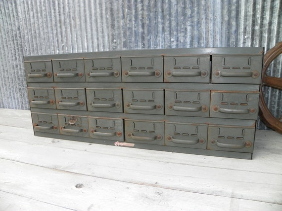 Vintage Industrial Chic Office Medical Military Cabinet 18 drawers awesome patina A Scrapbookers Dream