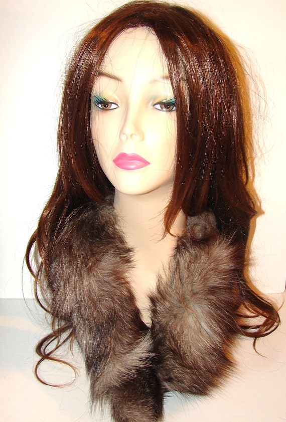 CO-6 Vintage genuine Grey Brown FOX fur COLLAR Trim Wrap Pure Vintage Luxury