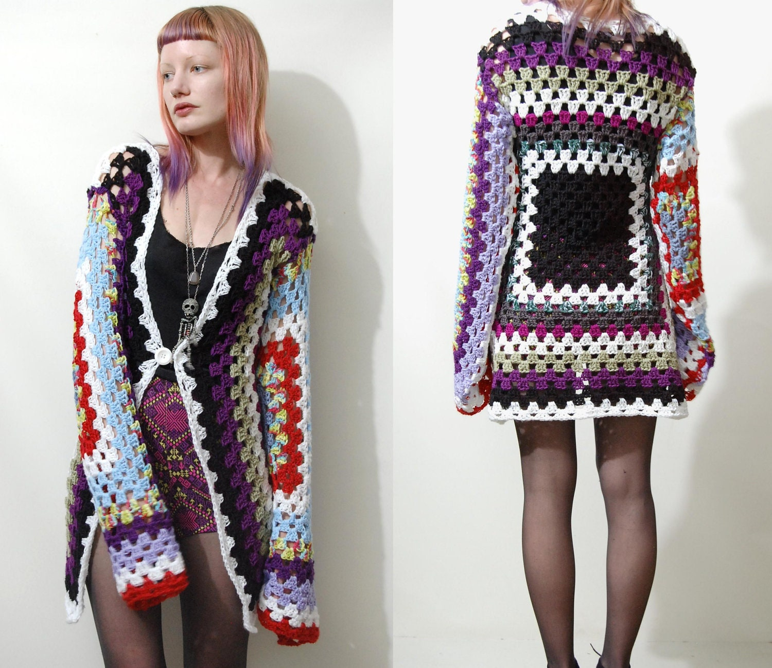 Crochet Granny Square Sweater Pattern : Vintage GRANNY SQUARE Crochet CARDIGAN Jacket Rainbow