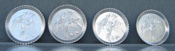 Vintaget Aluminum Coasters with Bird and Butterfly Impressions-1980's or earlier era-seven coasters