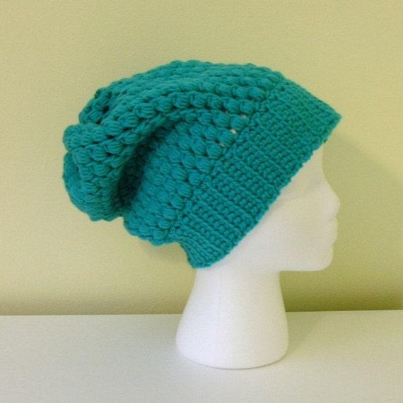 SALE - Crochet Slouchy Hat Beret Beanie - Turquoise - Aqua