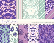 Scrapbook Paper Pack Digital Scrapbooking Background Papers DAMASK 10 8.5 x 11 Sheets French White Green Purple Pink 1029gg