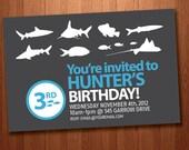 Printable Boy's Shark Birthday Invitation (Personalized)