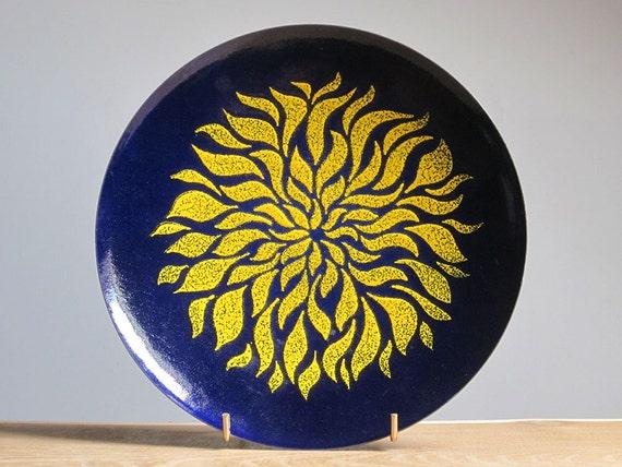 Mid Century Modern enamel brass plate (1960s)