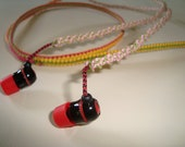 Macrame hippie headphones awesome yellow green red pink woven earbuds