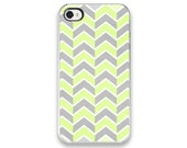 iPhone Case - Gray and Yellow Chevron - Original Design - iPhone Cover - Fresh Accessory, zigzag, clouds and sunshine