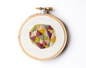 Modern Geometric Embroidery - 3 Inch Hoop Art - Abstract Crewel Hand Embroidered - Quirky Geode - Dorm Decor - Earthy Natural