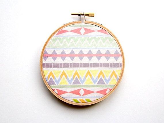 Tribal Pattern Hoop Art - 4 Inch Modern Wall Hanging - Contemporary Design - Original Pattern - Aztec - Tropical Chevron